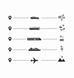 set simple travel icons vector image