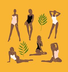 Set trendy minimal abstract modern female vector