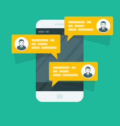 sms texting - smartphone with chat messages vector image