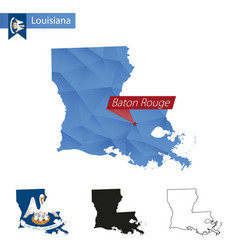 State louisiana blue low poly map with capital vector