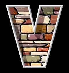 Stone letter v vector