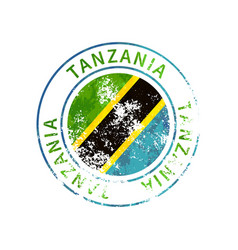 Tanzania sign vintage grunge imprint with flag vector