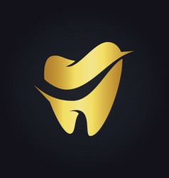 Tooth dental gold logo vector