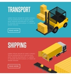Transport and shipping isometric banners set vector image