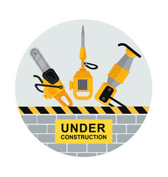 Under construction flat vector