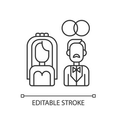 Wedding pixel perfect linear icon vector