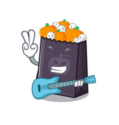 With guitar halloween bag in a cartoon vector