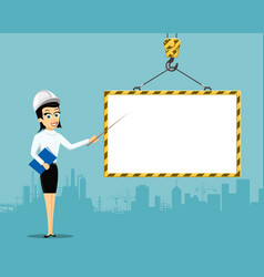 woman engineer showing on blank building frame vector image