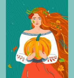 woman like autumn season beauty fall flat female vector image