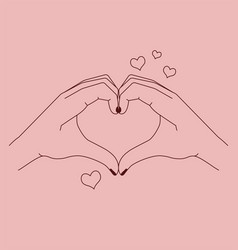 woman making a heart gesture with her fingers vector image