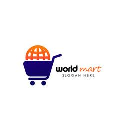 World shop logo design template world marketplace vector