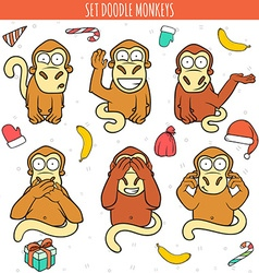 Year of red monkey Doodle set monkeys Chinese vector image