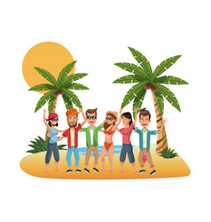 young people at beach vector image