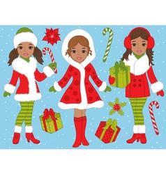 African American Girls Set vector image vector image