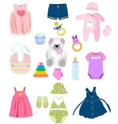 Baby girl elements vector image