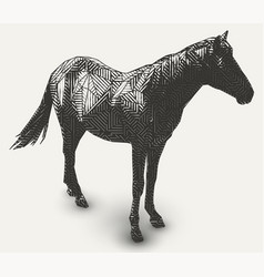 horse polygon shaped line- art vector image vector image