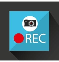 Retro camera photographic rec button vector