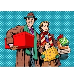 Shopping happy family dad mom girl vector image