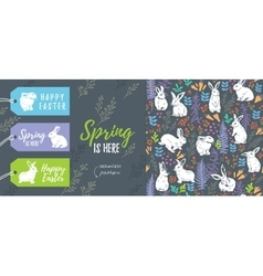 Spring collection Set of Easter tags and seamless vector image vector image