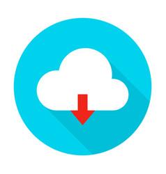 Cloud upload flat circle icon vector