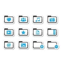 Folder documents music film icons set vector image vector image