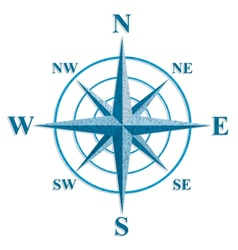 Wind rose The sign on the old maps vector image vector image