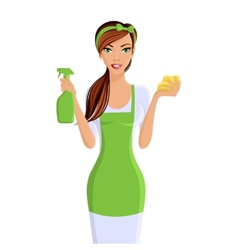 Woman cleaners portrait vector image vector image