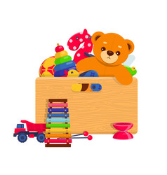 wooden box full of kids toys vector image vector image