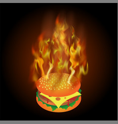 Burning fresh hamburger with fire flame vector