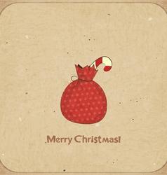 Christmas retro postcard with gift bag vector