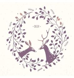 Deer frame branches vector image