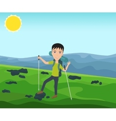 Funny man with a backpack goes hiking vector image