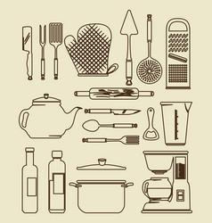 kitchen utensils vintage icon set vector image