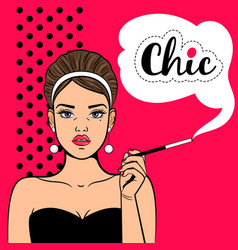 pop art girl with cigarette vector image vector image