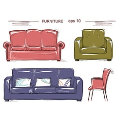 Set of couch and armchairs color sketchy vector image vector image
