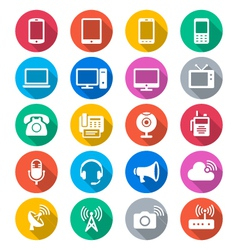 Communication device flat color icons vector image