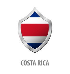 costa rica flag on metal shiny shield vector image