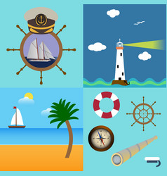 Four sea set with description of lighthouse boat vector