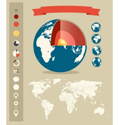 Infographic elements retro style template vector image