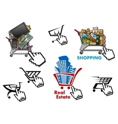 Internet market store shop design elements set vector image