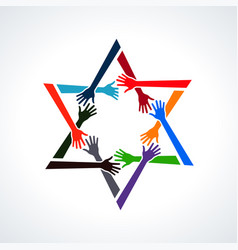 people hands in a david star vector image vector image