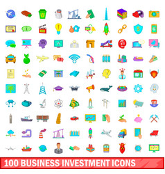 100 business investment icons set cartoon style vector image