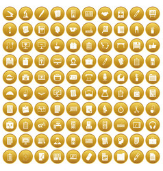 100 office icons set gold vector