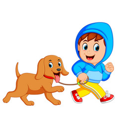 a boy running with dog vector image