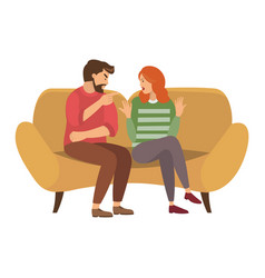 A man and woman are sitting on large sofa vector