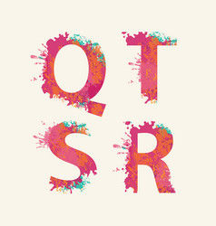 Abstract alphabet letters q r s t with color blots vector