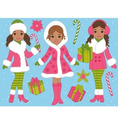 African American Christmas Girls Set vector image