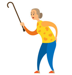 aged person with stick pensioner and wand vector image