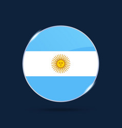 Argentina national flag circle button icon simple vector