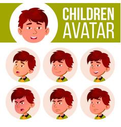 Asian boy avatar set kid kindergarten vector